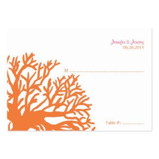 Tarjeta tropical anaranjada y rosada del asiento d tarjetas de visita