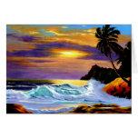 Tarjeta tropical de la puesta del sol