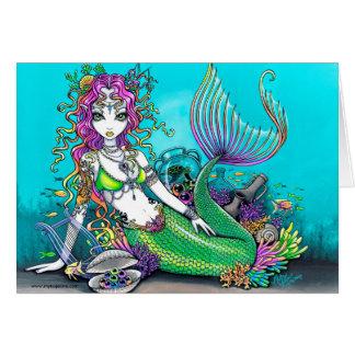 Tarjeta tropical de la sirena del arco iris de Lyr
