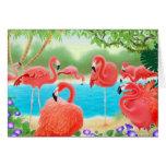 Tarjeta tropical de los flamencos