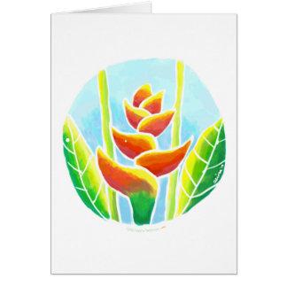 Tarjeta tropical del batik de la flor de Heliconia