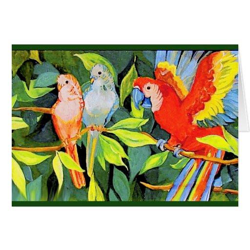 Tarjeta tropical del pájaro