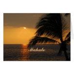 Tarjeta tropical hawaiana de la puesta del sol de