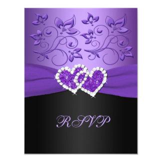 Tarjeta unida floral negra púrpura de RSVP de los Anuncios