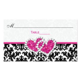 Tarjeta unida negra, blanca, rosada del lugar del tarjetas de visita