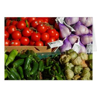 Tarjeta vegetal de la parada del mercado