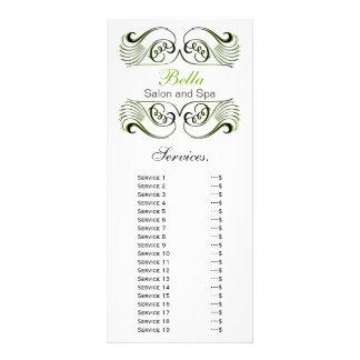 tarjeta verde, blanco y negro elegante del estante tarjetas publicitarias