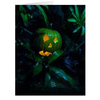 Tarjeta verde de Halloween de la linterna de Jack