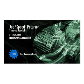 Tarjeta verde de la empresa de servicios del coche plantillas de tarjetas personales