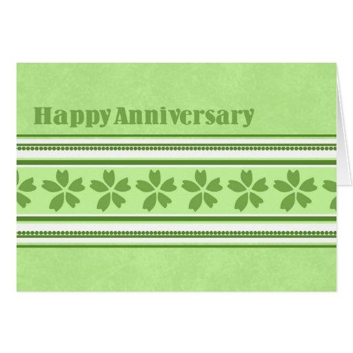 Tarjeta verde de la enhorabuena del aniversario de