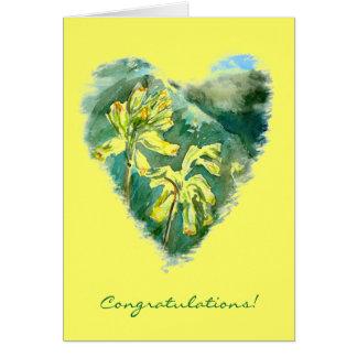 Tarjeta verde de la enhorabuena del corazón de los