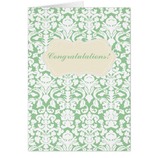 Tarjeta verde de la enhorabuena del damasco