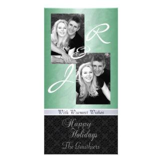 Tarjeta verde de la foto de la cinta del día de fi tarjetas fotográficas personalizadas