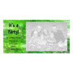Tarjeta verde de la foto de la invitación del fies tarjetas fotograficas