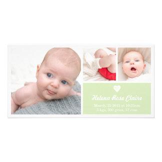 Tarjeta verde de la foto de la invitación del tarjeta fotografica personalizada