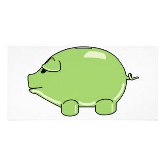 Tarjeta verde de la foto del cerdo tarjeta personal