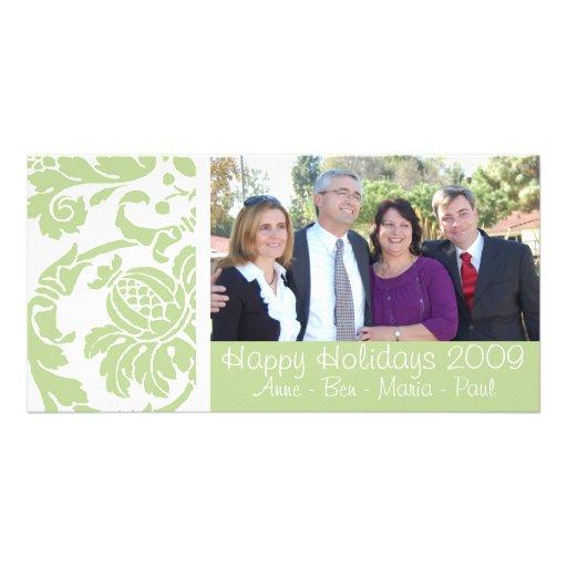 Tarjeta verde de la foto del damasco tarjetas fotográficas personalizadas