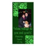Tarjeta verde de la foto del día de fiesta del con tarjetas fotográficas