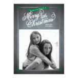 Tarjeta verde de la foto del día de fiesta del invitación 12,7 x 17,8 cm