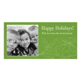 Tarjeta verde de la foto del lirio buenas fiestas tarjeta fotografica