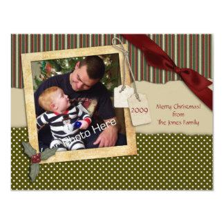 """Tarjeta verde de la foto del navidad del pedazo de invitación 4.25"""" x 5.5"""""""