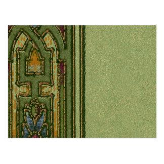 Tarjeta verde de la frontera del extracto del postal