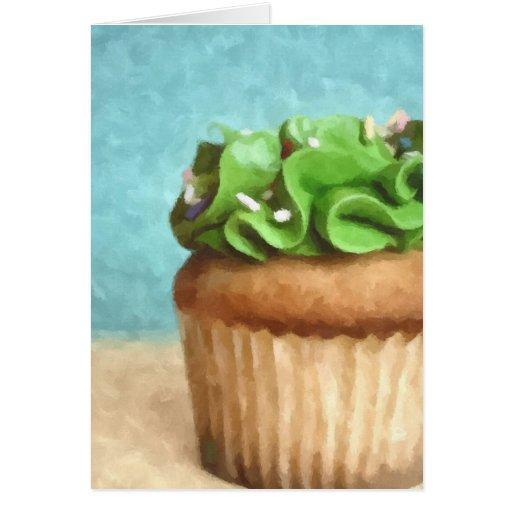 Tarjeta verde de la pintura de la foto de la magda