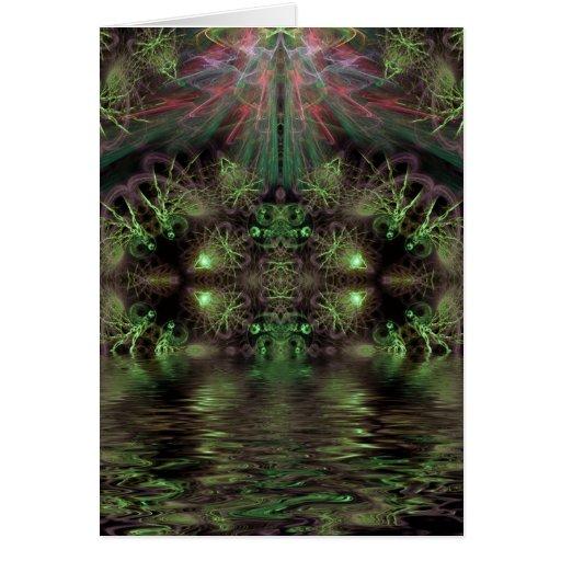 Tarjeta verde de la reguera del fractal