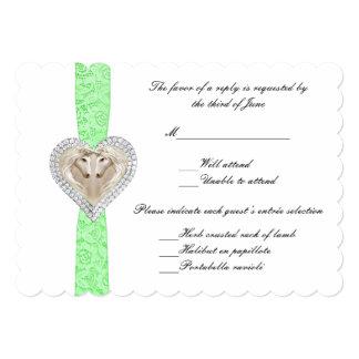 """Tarjeta verde de la respuesta del boda del cordón invitación 5"""" x 7"""""""