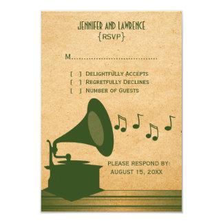 Tarjeta verde de la respuesta del gramófono del invitación 8,9 x 12,7 cm