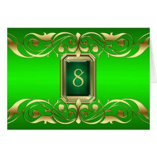 Tarjeta verde de la tabla de la voluta del oro de