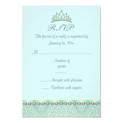 """Tarjeta verde de la tiara y del damasco Sweet16 Invitación 3.5"""" X 5"""""""