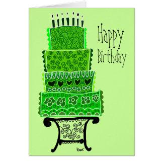 Tarjeta verde de la torta del feliz cumpleaños