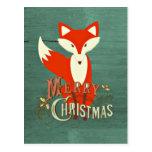 Tarjeta verde de las Felices Navidad del Fox Postales