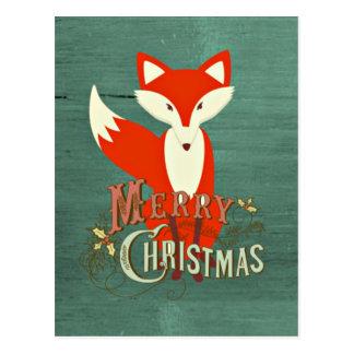 Tarjeta verde de las Felices Navidad del Fox Postal