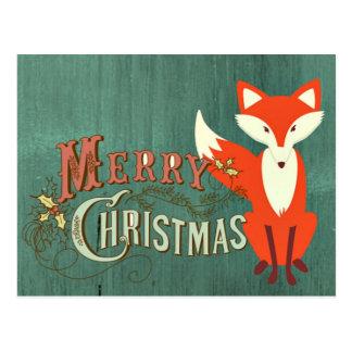 Tarjeta verde de las Felices Navidad del Fox Tarjetas Postales