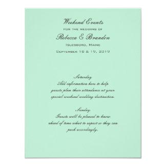 """Tarjeta verde de los acontecimientos del boda del invitación 4.25"""" x 5.5"""""""