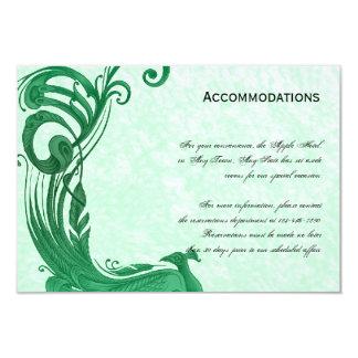 """Tarjeta verde de los alojamientos del pavo real invitación 3.5"""" x 5"""""""