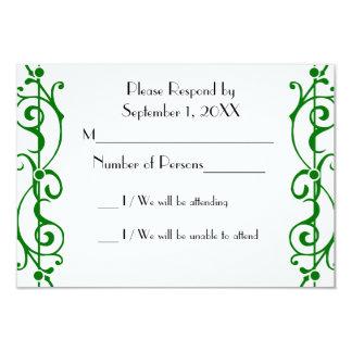 Tarjeta (verde) de marfil de RSVP de la fibrilla Invitación 8,9 X 12,7 Cm