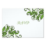 Tarjeta verde de RSVP de los remolinos elegantes Invitación 8,9 X 12,7 Cm