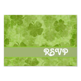 "Tarjeta verde de RSVP del trébol Invitación 3.5"" X 5"""