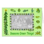 Tarjeta verde del día de fiesta de las cosas de la