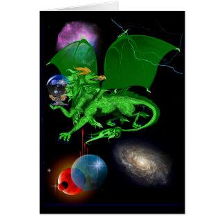 Tarjeta verde del dragón del universo