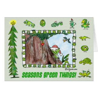 Tarjeta verde del duende de las cosas de las estac