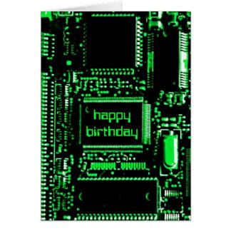 """Tarjeta verde del """"feliz cumpleaños"""" del circuito"""