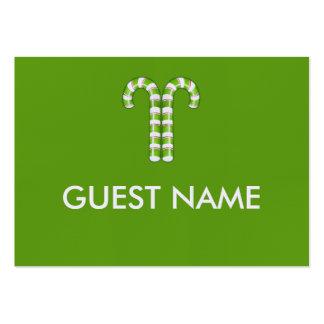 Tarjeta verde del lugar de la cena de los bastones tarjetas de visita grandes