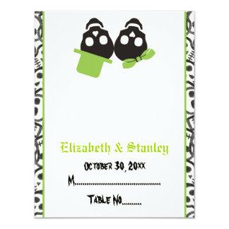 Tarjeta verde del lugar del boda de Halloween de Invitación 10,8 X 13,9 Cm