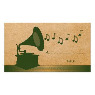 Tarjeta verde del lugar del gramófono del vintage plantilla de tarjeta de negocio