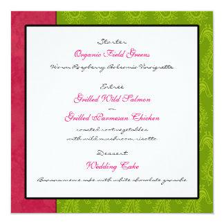 Tarjeta verde del menú de la recepción nupcial de invitación 13,3 cm x 13,3cm