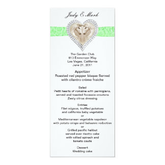 """Tarjeta verde del menú del boda del cordón del invitación 4"""" x 9.25"""""""